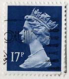 Queen Elizabeth II stamp  -  17p