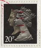 Queen Elizabeth II stamp  -  20p  -  150th Anniversary of the Penny Black stamp