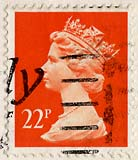 Queen Elizabeth II stamp  -  22p