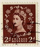 Enlargement of a Queen Elizabeth II stamp on a postcard  -  1954