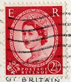 Queen Elizabeth II stamp  -  2.5d