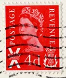4d stamp used on postcard
