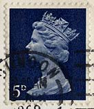 Queen Elizabeth II stamp  -  5d