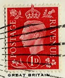 Penny stamp -  red  -  KIng George VI