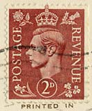 Twopenny stamp -  brown  -  KIng George VI