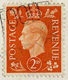 Twopenny stamp -  orange  -  KIng George VI