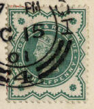 Enlargement of a Queen victoria stamp on a postcard  -  1901