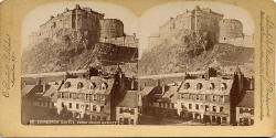 A Stereo View by C Bierstadt of Edinburgh Castle from the Grassmarket