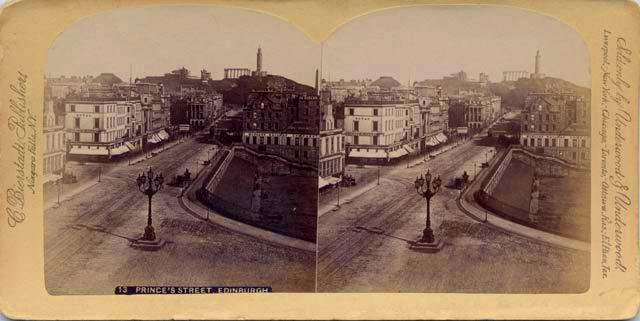 A Stereo View by C Bierstadt of Princes Street looking east from the Scott Monument