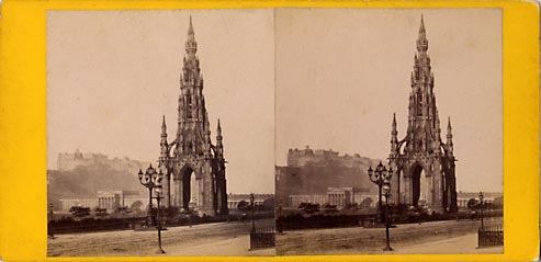 Archibald Burns stereo card  -   The Sir Walter Scott Monument