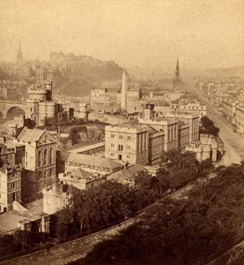 Enlargement of Archibald Burns stereo card  -  View from Calton Hill towards Edinburgh Castle and Princes Street