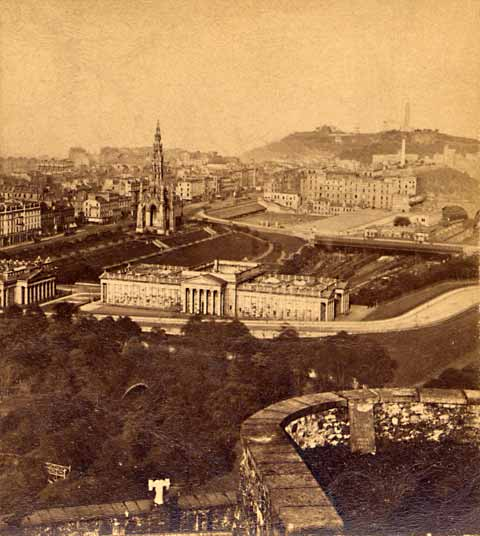 Enlargement of Archibald Burnns stereo card  -  View from Edinburgh Castle towards Princes Street