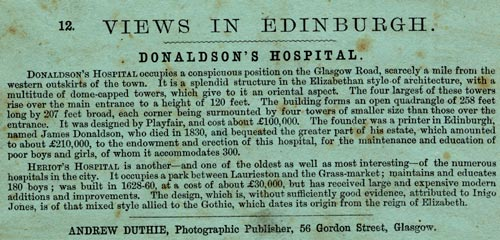 The description on the back of a Stereo View of Donaldson's Hospital, Edinburgh  -  by Andrew Duthie, Glasgow