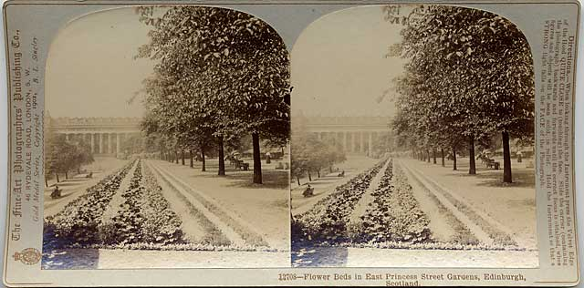 Stereo View by The Fine Art Photographers' Publishing Co  -  Princes Street Gardens