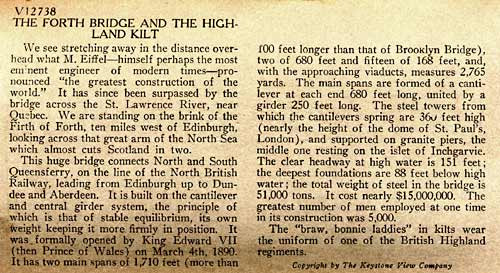 Description on the back of a Stereo View of the Forth Bridge and Pipers by Keystone View Company