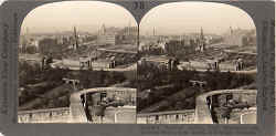 Stereo view by Keystone View Company  -  Looking towards Princes Street and Calton Hill from Edinburgh Castle