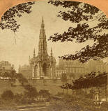 Enlargement of a stereoscopic view by BW Kilburn  -  The Scott Monument from Princes Street Gardens