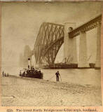 Enlargement of a stereoscopic view by BW Kilburn  -  The Forth Bridge, with ferry at South Queensferry Pier
