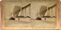 Stereoscopic view by BW Kilburn  -  The Forth Bridge, with ferry at South Queensferry Pier