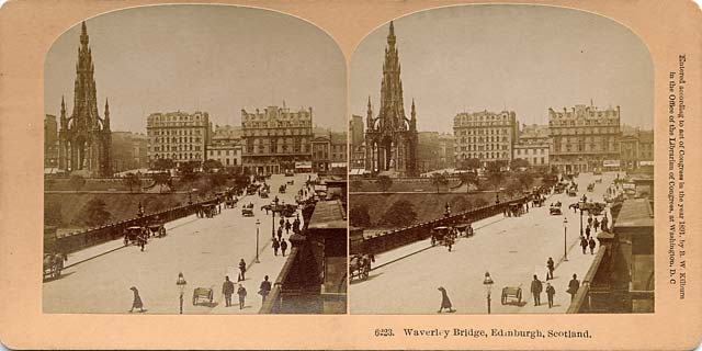 Stereo View by BW Kilburn  -  Waverley Bridge, looking towards Princes Street and the Scott Monument