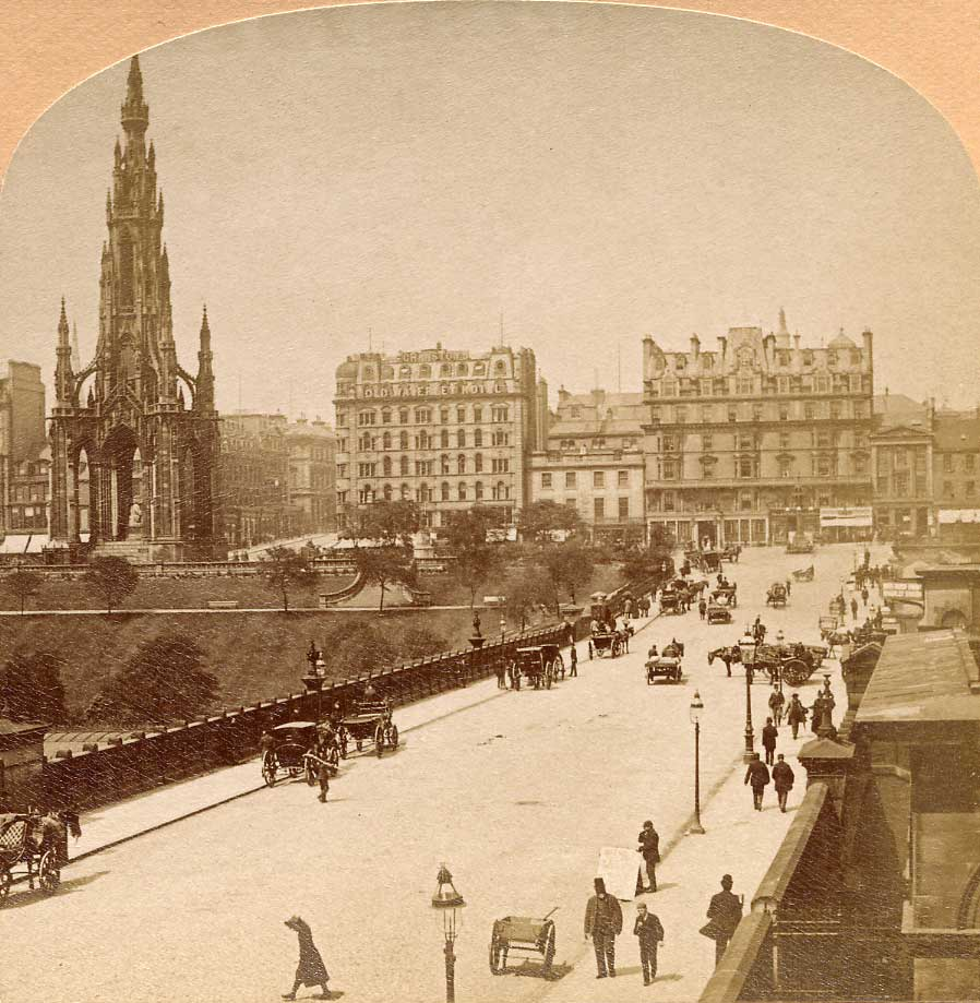 Enlargement from a stereo view by Kilburn  -  Waverley Bridge, looking towards Princes Street and the Scott  Monument (left)