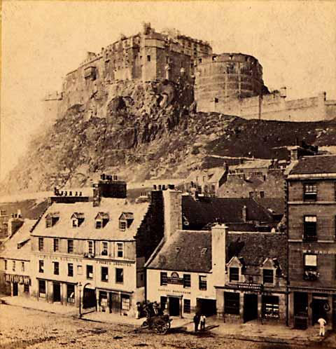 Enlargement of stereo view from Lennie  -  Edinburgh Castle from the Grassmarket