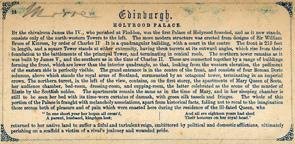 Description on the back of a Stereo View of Holyrood Palace from Holyrood Palace Gates  -  from Lennie