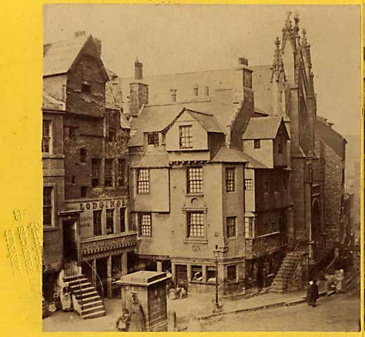 Enlargement from a stereo View by Lennie - John Knox Houes in the Royal Mile, Edinburgh