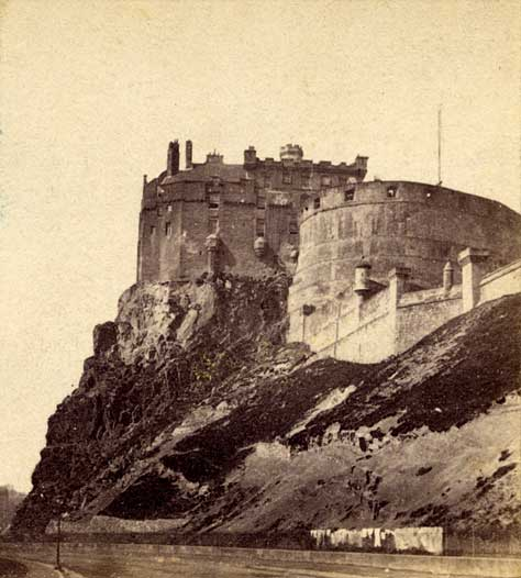 Enlargement from a stereo view by Alexander McGlashon  -  Looking to the east from Johnston Terrace towards Edinburgh Castle.