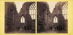 Stereo View by McGlashon  -  Looking towards the East Window of Holyrood Abbey, with figures in the scene