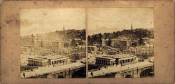 Stereo view by McGlashon  -  Looking down from the Scott Monument towards Waverley Bridge and the Old Town of Edinburgh