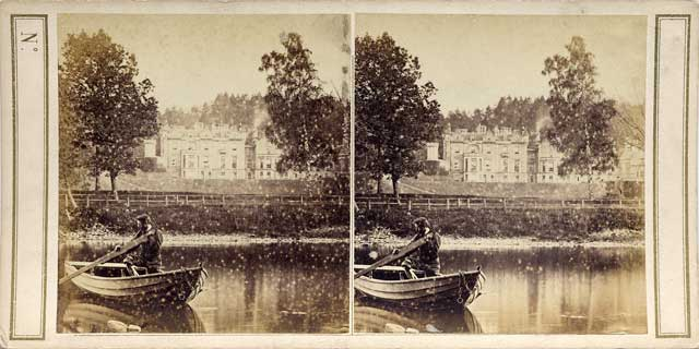 Stereoscopic View of Abbotsford from the River Tweed  -  by Walter Greenoak Patterson