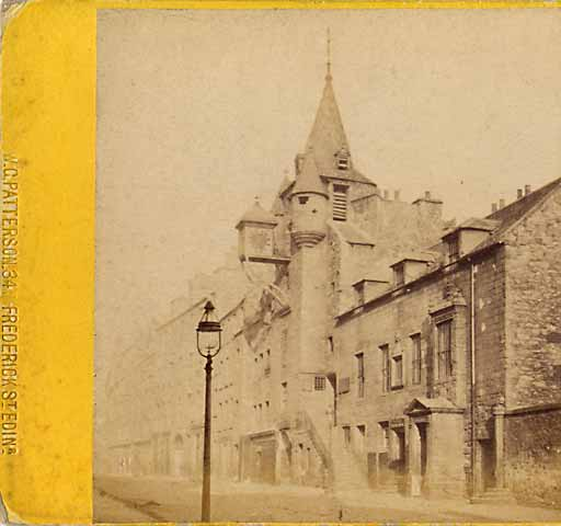 Enlargement from Walter Greenoak Patterson stereo view  -  Canongate Tolbooth in the Royal Mile, Edinburgh