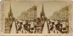 Stereo View by Strohmeyer & Wyman  -  Published by Underwood & Underwood - Princes Street  -  Looking to the west towards the Scott Monument from Waverley