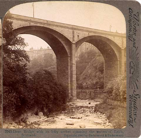 Stereo View of Dean Bridge over the Water of Leith  -   Underwood & Underwood