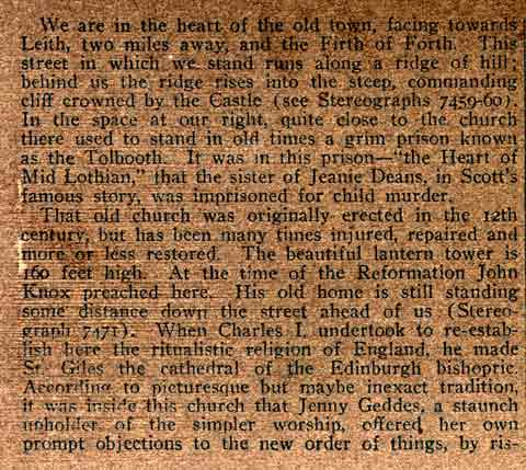 Description on the back of a Stereo View of John Knox House in the Royal Mile  -  Underwood & Underwood