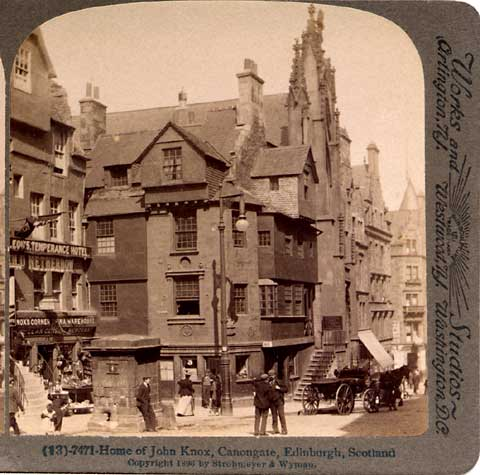 Enlargement from a Stereo View of John Knox House in the Royal Mile  -  Undeerwood & Underwood