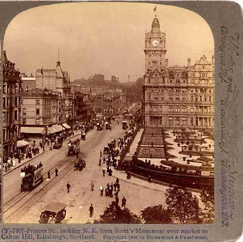 Enlargement of a view by Underwood & Underwood  -  looking from the Scott Monument to the east along Princes Street towards Calton Hill
