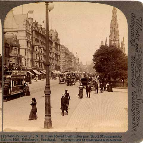 Underwood & Underwood  -  Stereo View looking from the Mound, to the east along Princes Street towards the Scott Monument