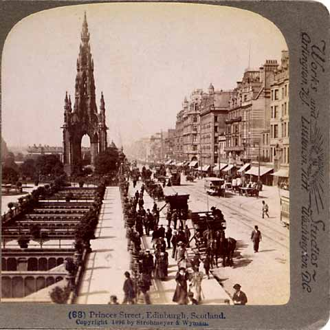 Underwood & Underwood  -  Enlargement of a stereo view of Princes Street, looking to the west from Waverley towards the Scott Monument