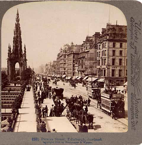 Underwood & Underwood  -  Enlargement of a stereo view of Princes Street, looking to the west towards the Scott Monument from Waverley