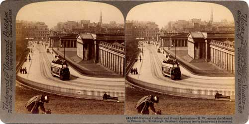 Stereo View looking down the Mound towards the National Galleries and Princes Street  -  Underwood & Underwood