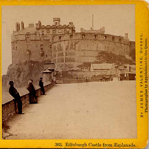Enlargement from James Valentine Stereo View  -  Edinburgh Castle and Esplanade