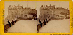 Stereo View by James Valentine  -  Edinburgh Castle and Esplanade
