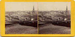 Stereoscopic View by Valentine - Looking to the north-east across  the Mound towards the National Galleries, Princes Street and the Scott Monument