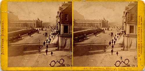 Stereoscopic Views by Valentine  -  Looking to the west along Princes Street towards the National Galleries