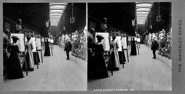 Stereoscopic Views  -  Waverley Series  -  Statue Gallery at The Royal Institution, Edinburgh