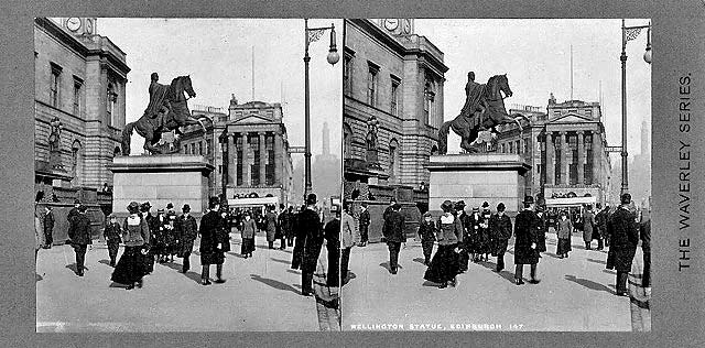 Stereoscopic Views  -  The Waverley Series  -  Duke of Wellington Statue, outside Register House at the East End of Princes Street