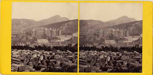 GW Wilson stereo card - Holyrood Palace from Calton Hill