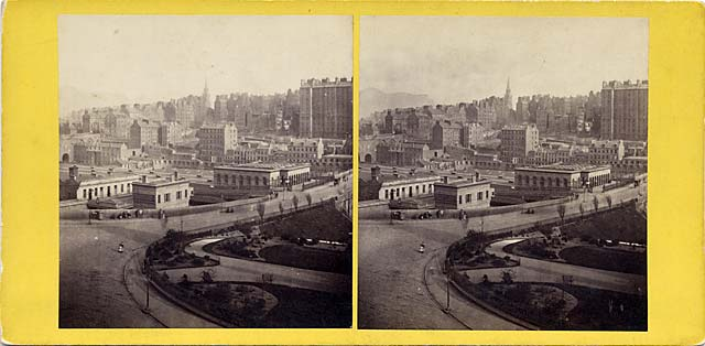 GW Wilson stereo card - Waverley Bridge and Edinburgh Old Town from Princes Street